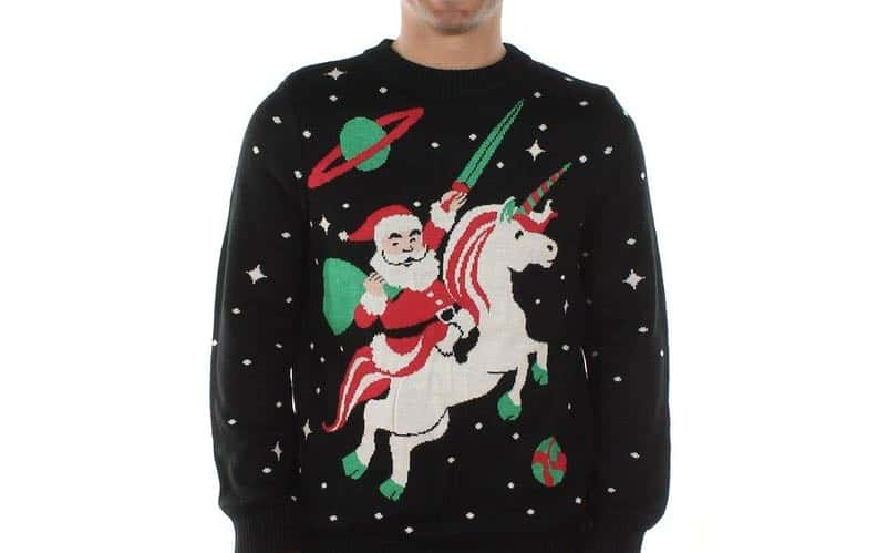 this unique piece is simply amazing depicting a santa in space riding a unicorn into the stars what more could one want in a nerdy christmas sweater