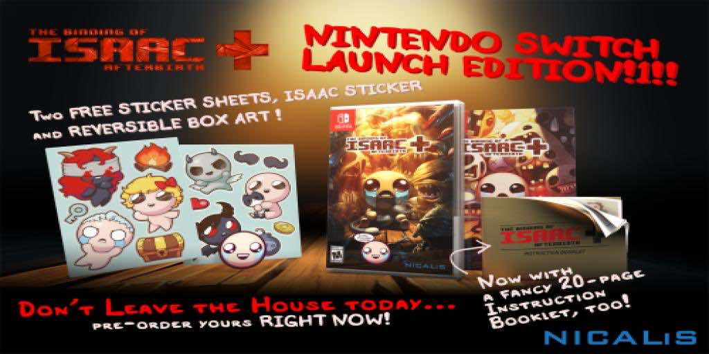 Binding of Isaac Delayed on Nintendo Switch, No Longer a Launch Title