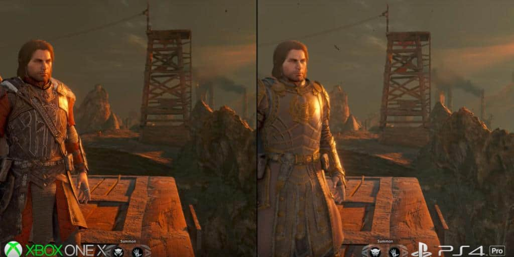 shadow of war xbox one x and ps4 pro graphics comparison