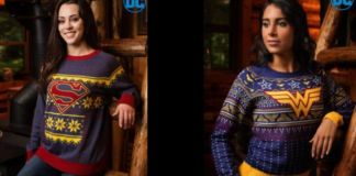 Superman and Wonder Woman Holiday Sweaters