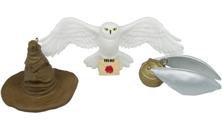 Hedwig, Sorting Hat, and Snitch Ornaments