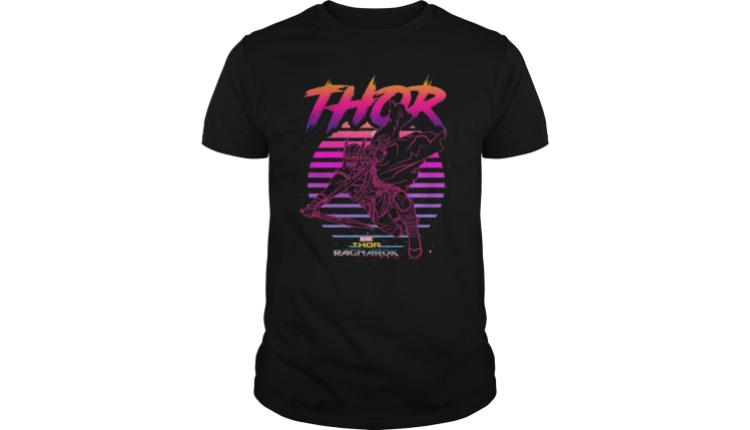 98 Marvel Thor Ragnarok 80s Retro Sunset Halftone Hero T Shirt 1999