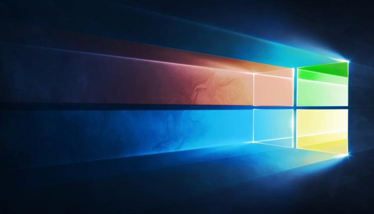 A Microsoft Windows logo with light shining through it.