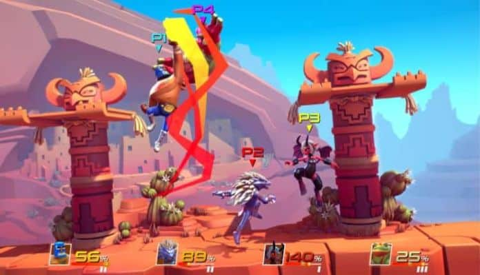 A screenshot of Brawlout gameplay with four players