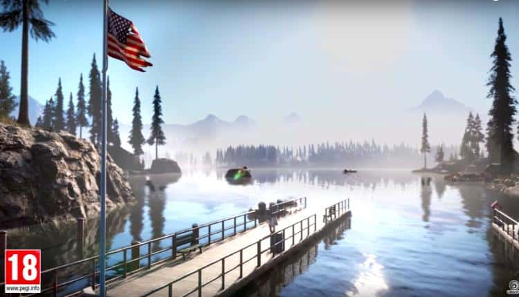 A lakefront view from Far Cry 5