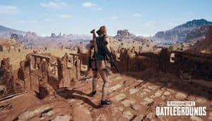 A screenshot of PUBG's desert map