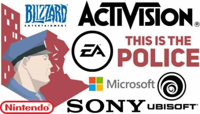 This Is the Police title card overlaid with logos from other game publishers like Activision Blizzard and Sony