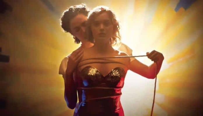 A screenshot from the film Professor Marston and the Wonder Women