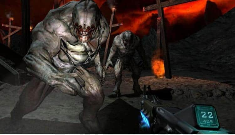 A screenshot of Doom 3 gameplay