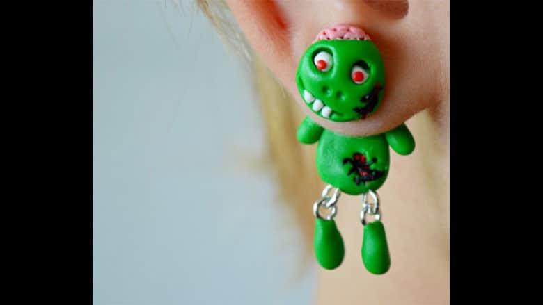 green zombie earrings