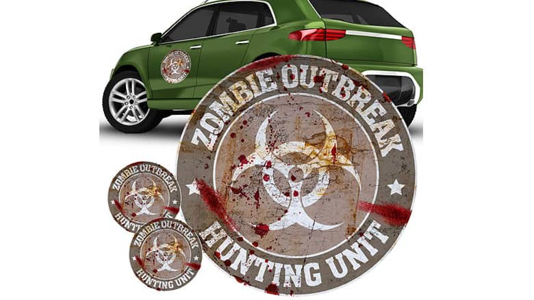 Zombie Outbreak Hunting Unit Car Decal