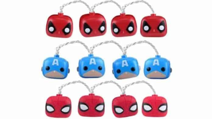 Marvel String Lights: Spider-Man, Deadpool, & Captain America