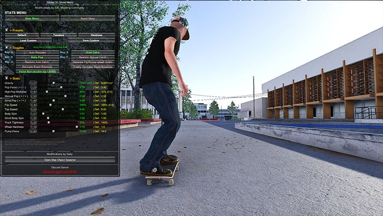 skater XL stats menu